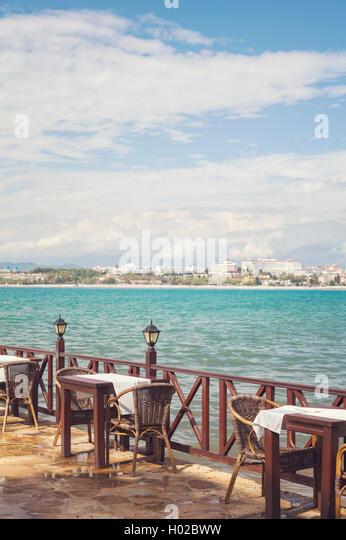 Image Of A Seaside Restaurant In Side Turkey
