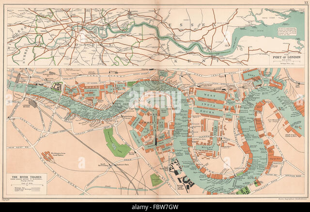 Map Of Thames River London Stock Photos  Map Of Thames River