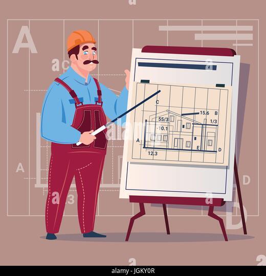 Contractor building site blueprint stock vector images alamy cartoon builder explain plan of building blueprint wearing uniform and helmet construction worker contractor male malvernweather Images