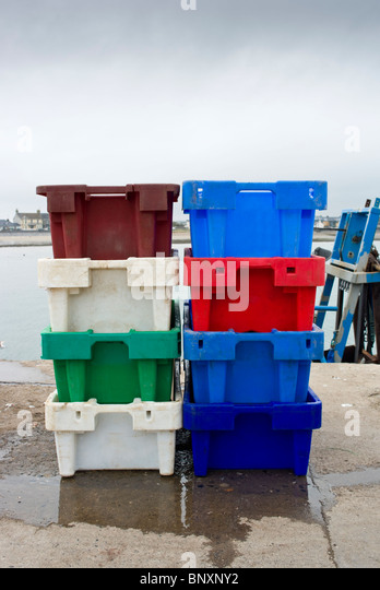 A colourful range of fish boxes on the quay at the fishing village of Skerries & Fish Storage Box Stock Photos u0026 Fish Storage Box Stock Images - Alamy Aboutintivar.Com