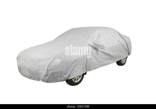 a car with cover sheet for sunlight rain and dust protection stock image