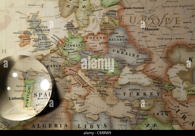 Close up european continent world map stock photos close up close up of european continent world map with crystal ball stock image gumiabroncs Image collections