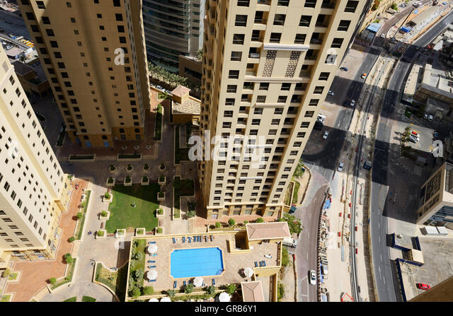 The view on dubai city from skyscraper stock photos the Swimming pool construction companies in uae