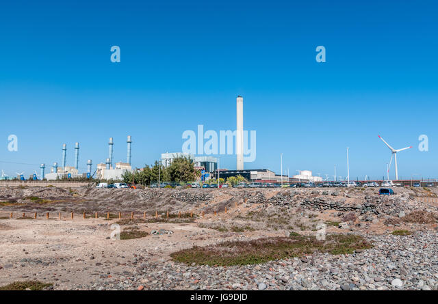 outside view of thermal power plant Barranco de Tirajana in Gran Canaria, Canary Islands, Spain - Stock Image