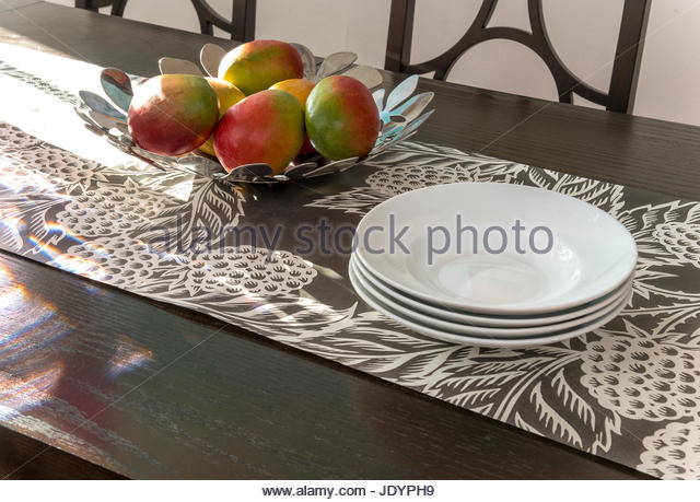 Plates On Wood Table With Mangoes In Modern Bowl   Stock Image