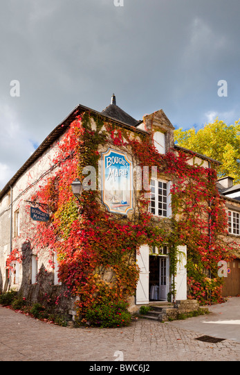 Ivy Covered House Rochefort En Terre, Brittany France Europe   Stock Image