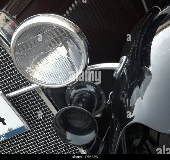 Vintage Automobile Front Center With One Headlight : Vintage ^headlamp stock photos