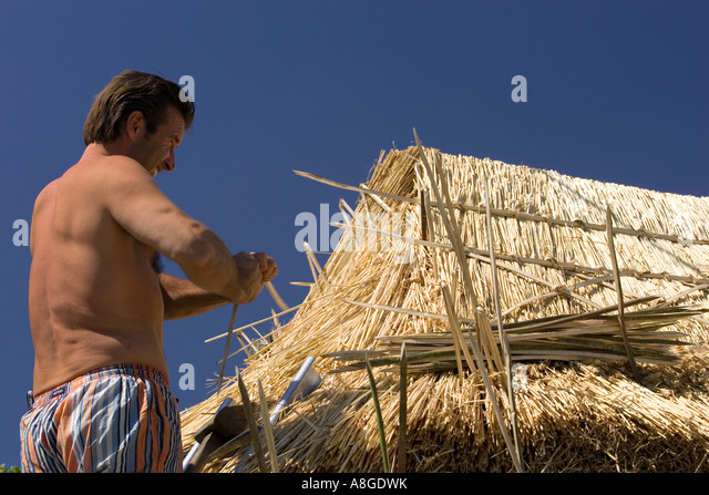 Thatcher twisting spar for new straw thatch on roof - Stock Image & Roof Spar Stock Photos u0026 Roof Spar Stock Images - Alamy memphite.com