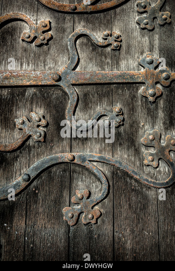 Ornate and weathered church door hinge pattern. - Stock Image & Church Door Hinge Stock Photos u0026 Church Door Hinge Stock Images ... pezcame.com