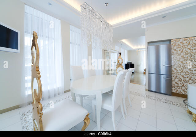 Modern And White Kitchen In The New Apartment