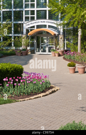 Entrance To The Conservatory At Franklin Park In Columbus, Ohio.   Stock  Image