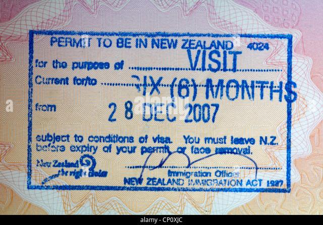 Uk passport stamp stock photos uk passport stamp stock images passport stamp for entry into new zealand stock image ccuart Choice Image