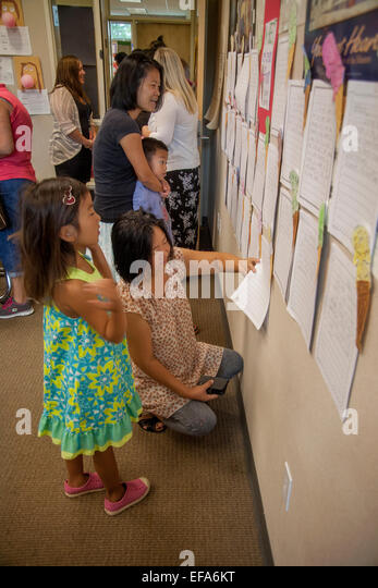 essays stock photos essays stock images alamy asian american students and mothers student essays displayed on an irvine ca elementary