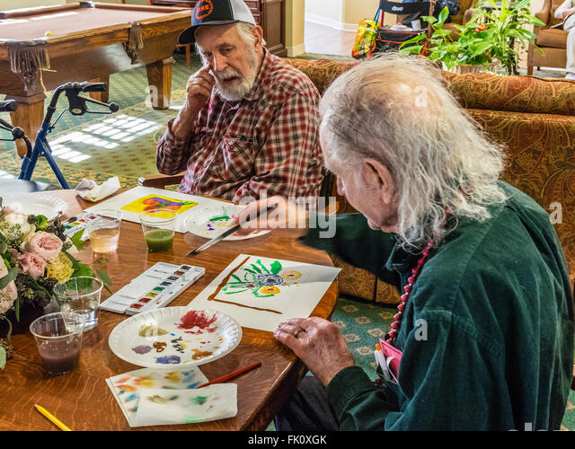 Charming A Male Artist Paints In A Watercolor Class For Seniors At Garden Court  Senior Residence In
