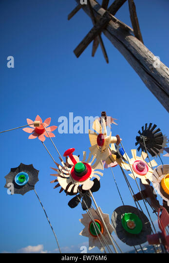 plastic weather vanes made with various recycled materials stock image - Weather Vanes