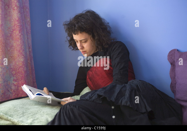 College Student Reading In Her Dorm Room   Stock Image Part 72