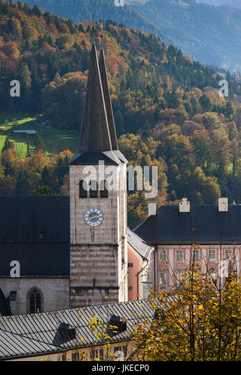 Germany, Bavaria, Berchtesgaden, Stiftskirche Sts. Peter And Johannes Church,  Elevated View
