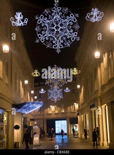 Christmas Lights Decorations Southgate Shopping Centre Bath England Stock Image