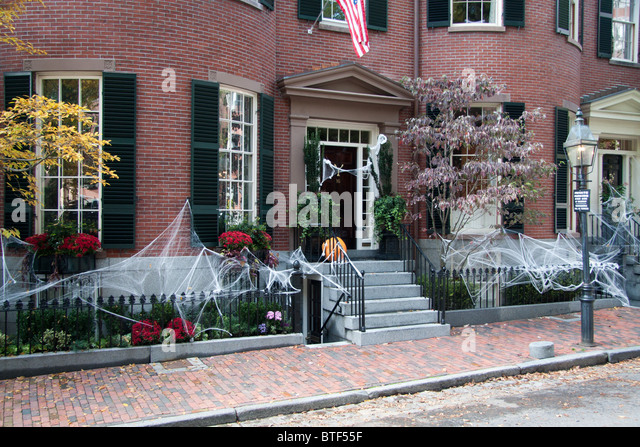 a house in boston ma decorated for halloween stock image