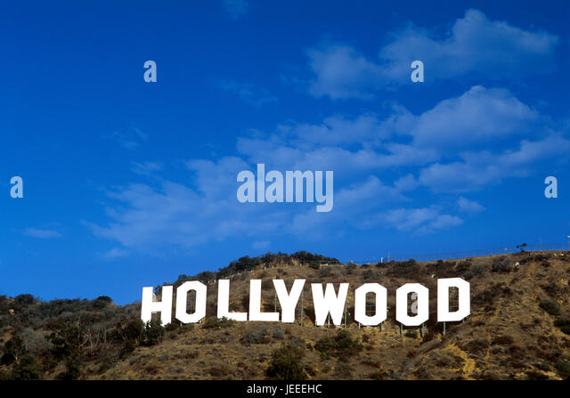 The iconic hollywood sign in the hollywood hills above los angeles ca stock
