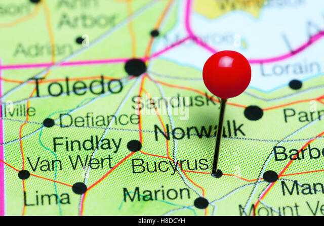 Bucyrus Pinned On A Map Of Ohio Usa Stock Image