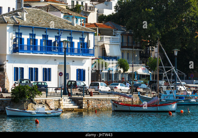 View of the harbour in Skopelos town, Greece. - Stock Image