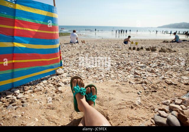 Charmouth beach Dorset, England, UK - Stock Image