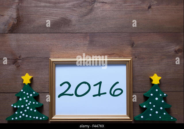 picture frame with christmas tree and 2016 stock image