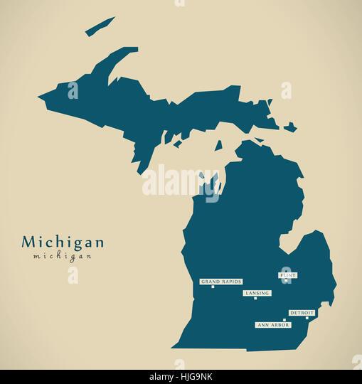 Michigan State Map Stock Photos Michigan State Map Stock Images - Usa map michigan
