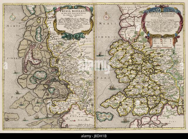 Kaart van Noord Friesland in Sleeswijk (Duitsland) in 1651 (links) en 1240 (rechts) - Stock Image