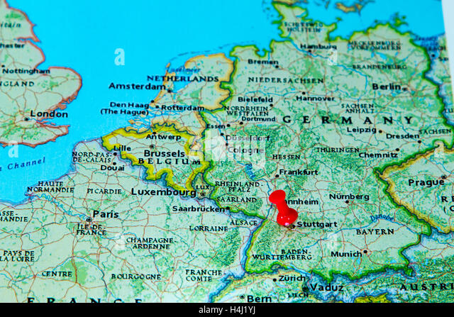 Pinned On Map Germany Stock Photos Pinned On Map Germany Stock