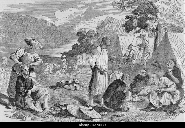 Mining life in California - Chinese miners circa 1857 - Stock Image & Mining Tent Tents Stock Photos u0026 Mining Tent Tents Stock Images ...