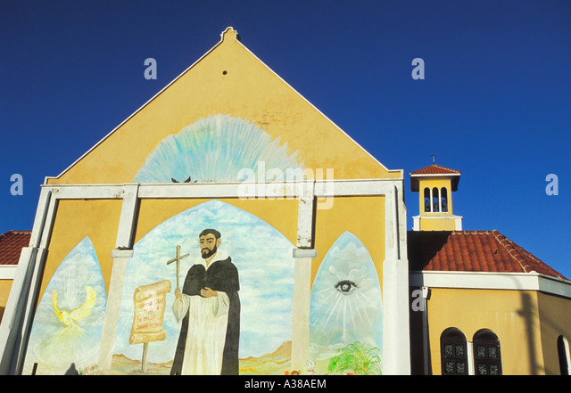 Mural painting of saint stock photos mural painting of for Church wall mural