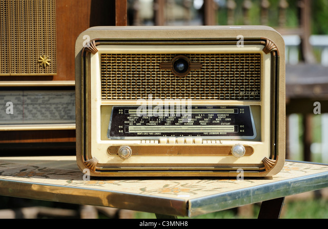 Stock photo of an old radion for sale at a French vide grenier