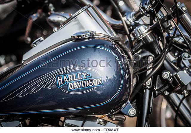 Close Up Of Harley Davidson Lettering On Bike