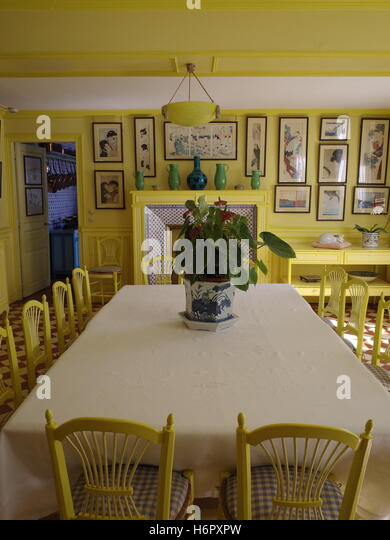 A Yellow Dining Room In Monetu0027s House In Giverny, France   Stock Image