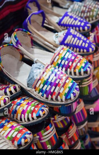 Market mexico shoes stock photos market mexico shoes for Mexican arts and crafts for sale