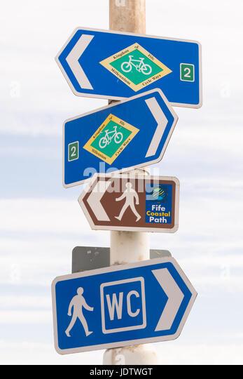 Fife Coastal Path and Millennium Cycle Ways signs, Pittenweem, Fife, Scotland, UK - Stock Image