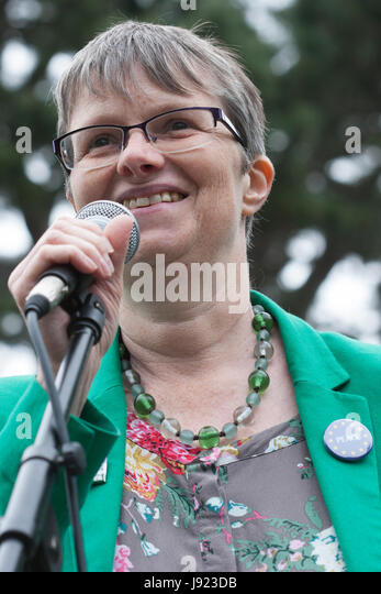 Molly Scott Cato MEP and prospective Green Party candidate for Bristol West, giving a speech in Redland, Bristol - Stock Image
