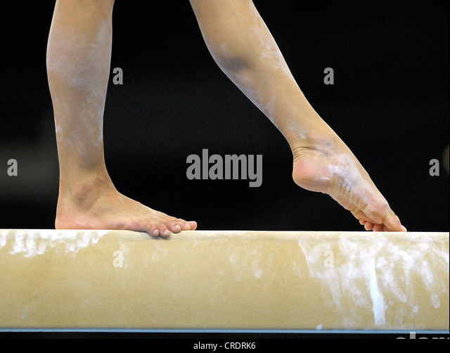 balance beam gymnastics stock image