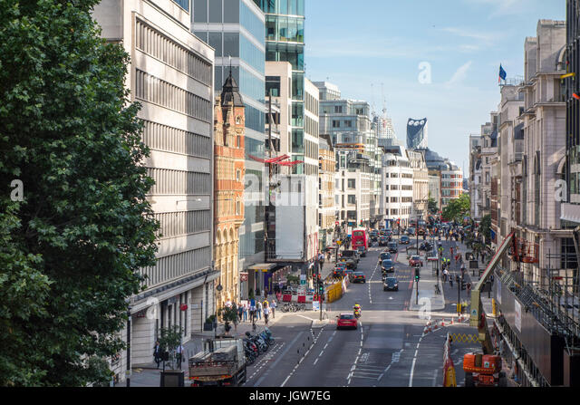 View Of Farringdon Street Looking South From Holborn Viaduct City London UK
