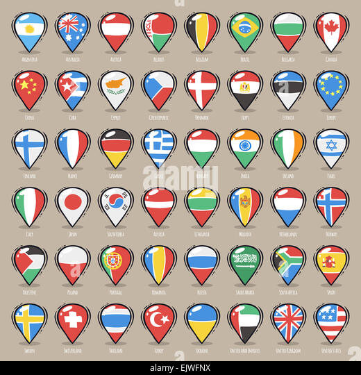 Official Country Flags World Map Stock Photos  Official Country
