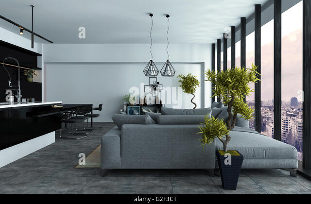 Spacious Modern Open Plan Living Room With A Built In Kitchen And Comfortable Grey Couches
