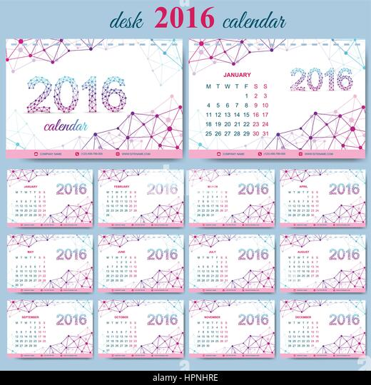 Table Calendar 2016 : Desk calendar stock photos