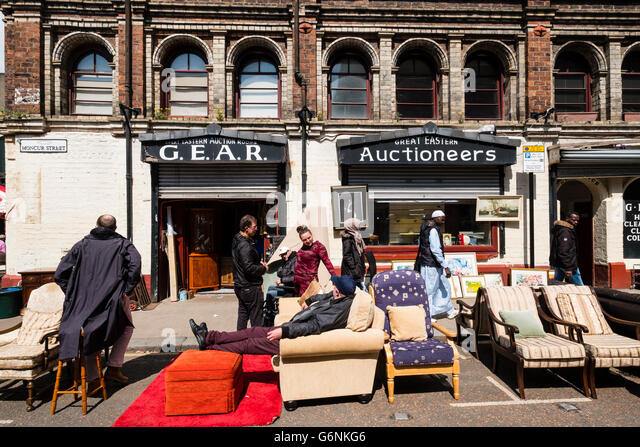 Exterior Of Second Hand Furniture Shop At Barras Market In Gallowgate Glasgow United Kingdom