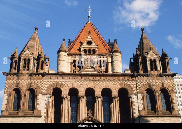Nineteenth century american church architecture stock photos boston massachusetts new england copley square trinity church usa stock image sciox Gallery