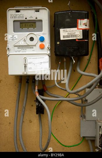 electricity meter digital stock photos electricity meter digital electricity meter cables box stock image