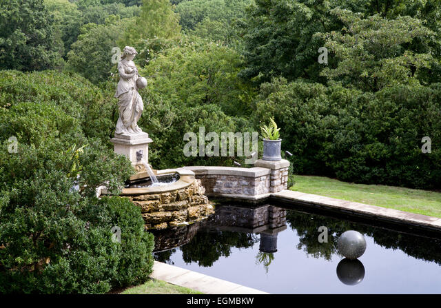Statue, Pond And Gardens At Cheekwood Gardens, Nashville, Tennessee.    Stock Image