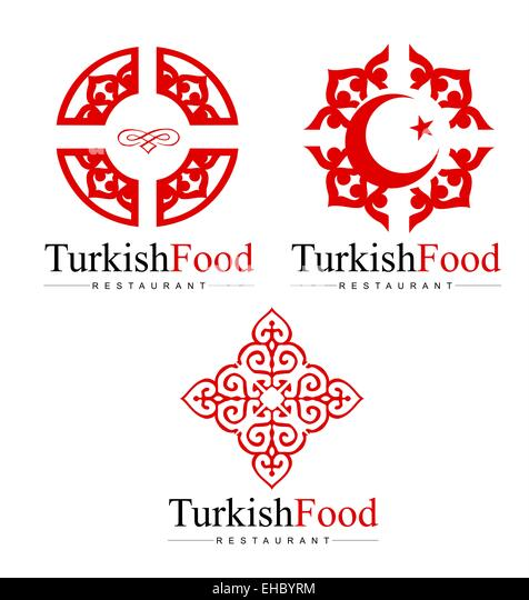 Turkish Design Logo. Creative Concepts with Red Floral Elements. - Stock  Image
