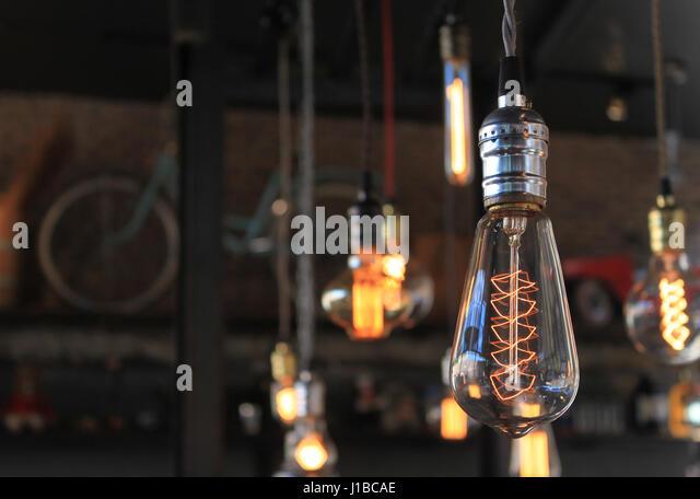 decorative light bulbs on beautiful background stock image - Decorative Light Bulbs